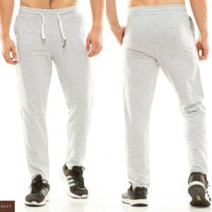 Приобрести в подарок мужские спортивные однотонные штаны теплые и лаконичные серого цвета больших размеров оптом Украина