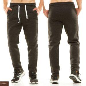 Купить в интернет-магазине мужские однотонные спортивные штаны лаконичные и теплые темно-серого цвета размеров больших дешево