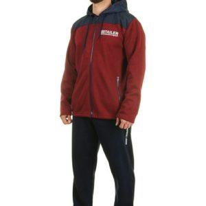 Заказать недорого мужские спортивный с капюшоном костюм из плащевки цвет бордо+темно-синий батал в подарок