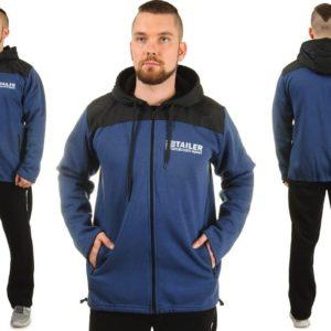 Купить в интернет-магазине мужские спортивный костюм из плащевки с капюшоном цвет синий+черный размеров больших дешево