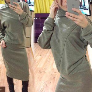 Приобрести в интернет-магазине женский костюм кофта + юбка из ангоры на трикотаже бежевого цвета дешево