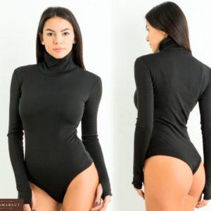 Приобрести в интернет-магазине женский утепленный боди с начесом из джерси цвета черного дешево