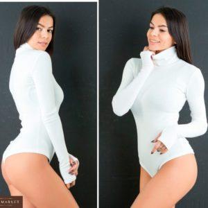 Заказать дешево женский боди из джерси утепленный с начесом цвета белого недорого