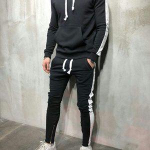 Купить в интернет-магазине прогулочный мужской костюм с лампасами цвет черный+белый размеров больших дешево