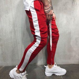 Купить в интернет-магазине штаны мужские с длинной шнуровкой и лампасами цвет красный+белый размеров больших дешево