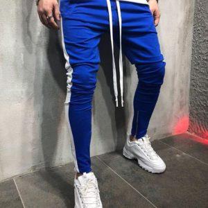 Заказать оптом мужские с длинной шнуровкой и лампасами штаны цвет электрик+белый батал недорого