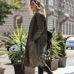 Приобрести в интернет-магазине женское пальто на синтепоне из плащевки цвета хаки дешево