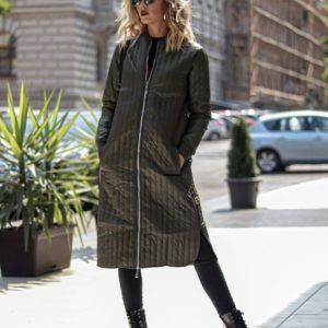 Заказать в подарок женское пальто из плащевки на синтепоне цвета хаки оптом Украина