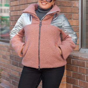 Заказать в интернет-магазине женскую куртку из блестящей серебряной плащёвки и ткани букле цвета пудры батал дешево