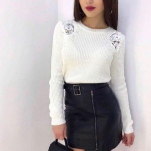 Приобрести в интернет-магазине женскую юбку ассиметричную из экокожи с поясом цвета черного дешево
