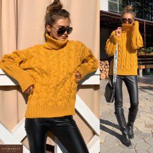 Купить недорого женский свитер шерстяной теплый с большим горлом цвета горчицы в подарок