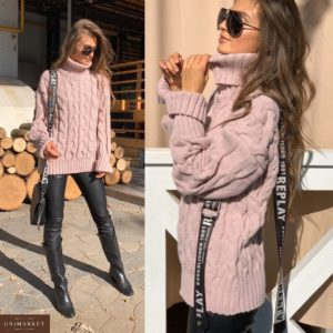 Приобрести в интернет-магазине женский теплый шерстяной свитер с большим горлом цвета пудры дешево