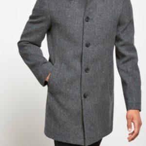 Купить дешево мужское пальто классическое со строгим силуэтом серого цвета недорого