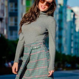 Заказать в подарок женскую короткую юбку на застежке с пуговицами оптом Украина