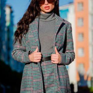 Приобрести в интернет-магазине женский пиджак удлиненный шерстяной в комплекте с поясом дешево