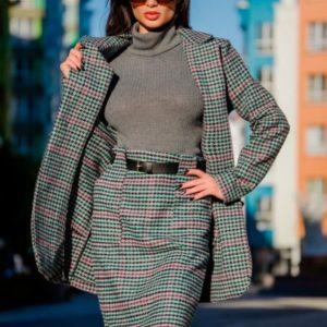 Приобрести в интернет-магазине женскую юбку длинную с поясом из твида дешево