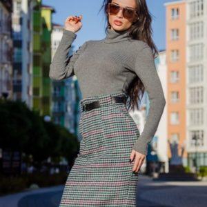 Приобрести в интернет-магазине женский теплый гольф из ангоры рубчик цвета серого дешево