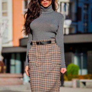 Заказать в подарок женскую длинную юбку из твида с поясом оптом Украина