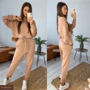 Приобрести в интернет-магазине женский костюм прогулочный на флисе из замша цвета пудры дешево