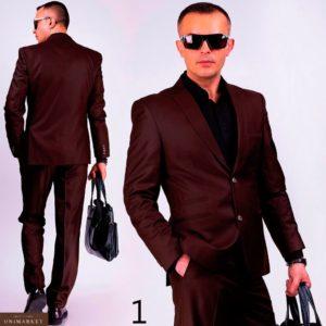 Купить дешево мужской деловой костюм классический с шерстью батал недорого