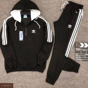 Купить дешево мужской спортивный костюм Adidas в классической интерпретации черного цвета батал недорого