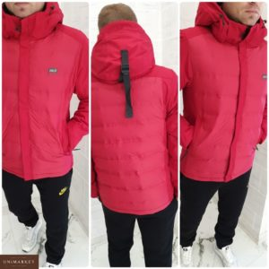 Приобрести в подарок мужскую куртку с водо и ветро защитной тканью верхней красного цвета больших размеров оптом Украина