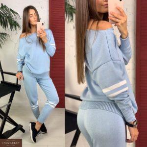 Купить недорого женский прогулочный костюм кофта + штаны из хлопка голубого цвета в подарок