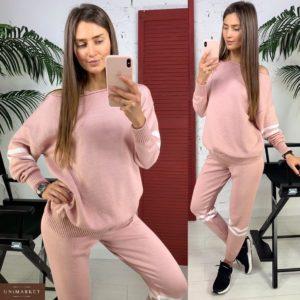 Приобрести в интернет-магазине женский костюм прогулочный из хлопка кофта + штаны цвета пудры дешево