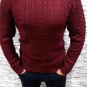 Заказать недорого мужской теплый с отворотом свитер цвета бордового в подарок