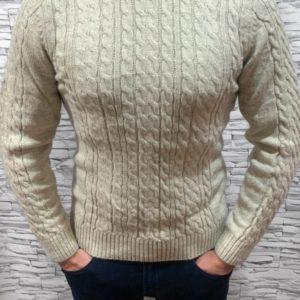Заказать оптом мужской свитер бежевый теплый с отворотом недорого