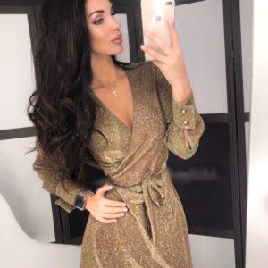 Заказать в подарок женское платье с блестящим напылением из трикотажа золотого цвета оптом Украина