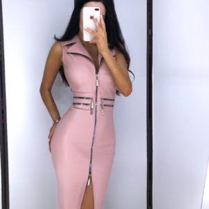 Купить недорого женское платье кожаное с молнией на замше пудрового цвета в подарок