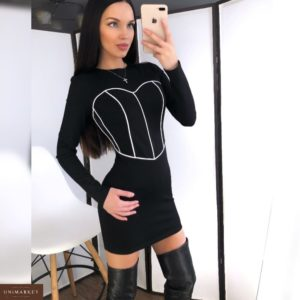 Купить оптом женское платье эластичное из джерси с декором корсет цвета черного в подарок