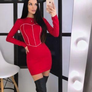 Приобрести дешево женское эластичное платье с декором корсет из джерси красного цвета недорого