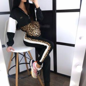 Приобрести в интернет-магазине женский костюм спортивный с принтом леопардовым дешево