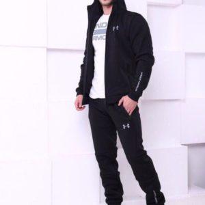 Приобрести в подарок мужской костюм спортивный с капюшоном Armour Under черного цвета больших размеров оптом Украина
