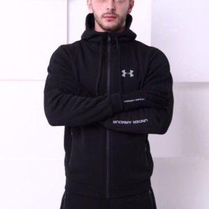 Купить дешево мужской спортивный костюм с капюшоном Under Armour цвета черного батал недорого
