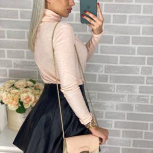 Приобрести в интернет-магазине женский гольф теплый из мягкой ангоры цвета персика меланжа дешево
