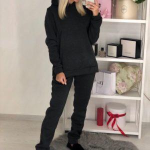 Приобрести в интернет-магазине женский костюм спортивный на флисе из трехнити цвета графита дешево