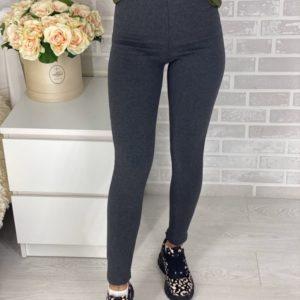 Приобрести в интернет-магазине женские лосины с мехом из хлопка в цвет меланжа серого дешево