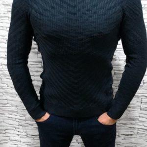 Приобрести в подарок мужской свитер тонкий с фактурным узором синего цвета оптом Украина