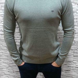 Приобрести в подарок мужской турецкий хлопковый свитер светло-серого цвета оптом Украина
