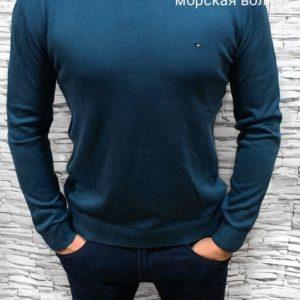 Заказать недорого мужской свитер хлопковый турецкий цвета морской волны в подарок