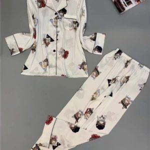 Заказать в подарок женскую шелковую пижаму: рубашка со штанами с принтом оптом Украина