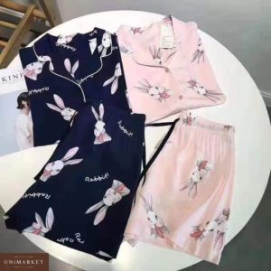 Заказать в подарок женскую пижаму с принтом и шортами кролика рубашку синего и черного цвета оптом Украина