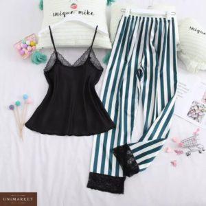 Приобрести в интернет-магазине женскую черно-зеленую пижаму штаны и майка в полоску дешево