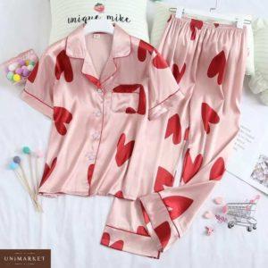 Заказать в подарок женскую пижаму штаны и рубашку с сердечками розового цвета оптом Украина