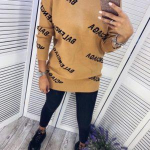 Приобрести в интернет-магазине женский свитер длинный баленсиага бежевого цвета дешево