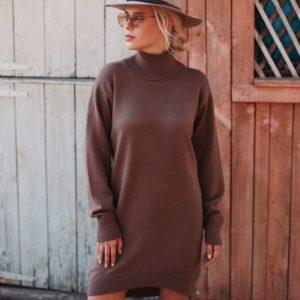 Заказать в подарок женское универсальное платье - гольф шоколадного цвета оптом Украина