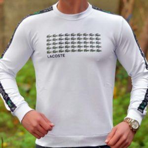 Заказать оптом джемпер мужской с крокодилами Lacoste белого цвета батал недорого